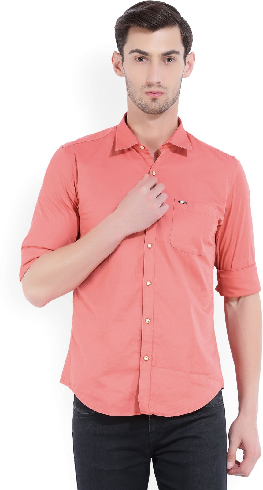 Peter England Men's Solid Casual Pink Shirt