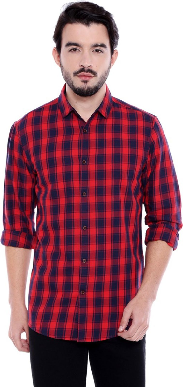 Dennis Lingo Men Checkered Casual Red, Blue Shirt