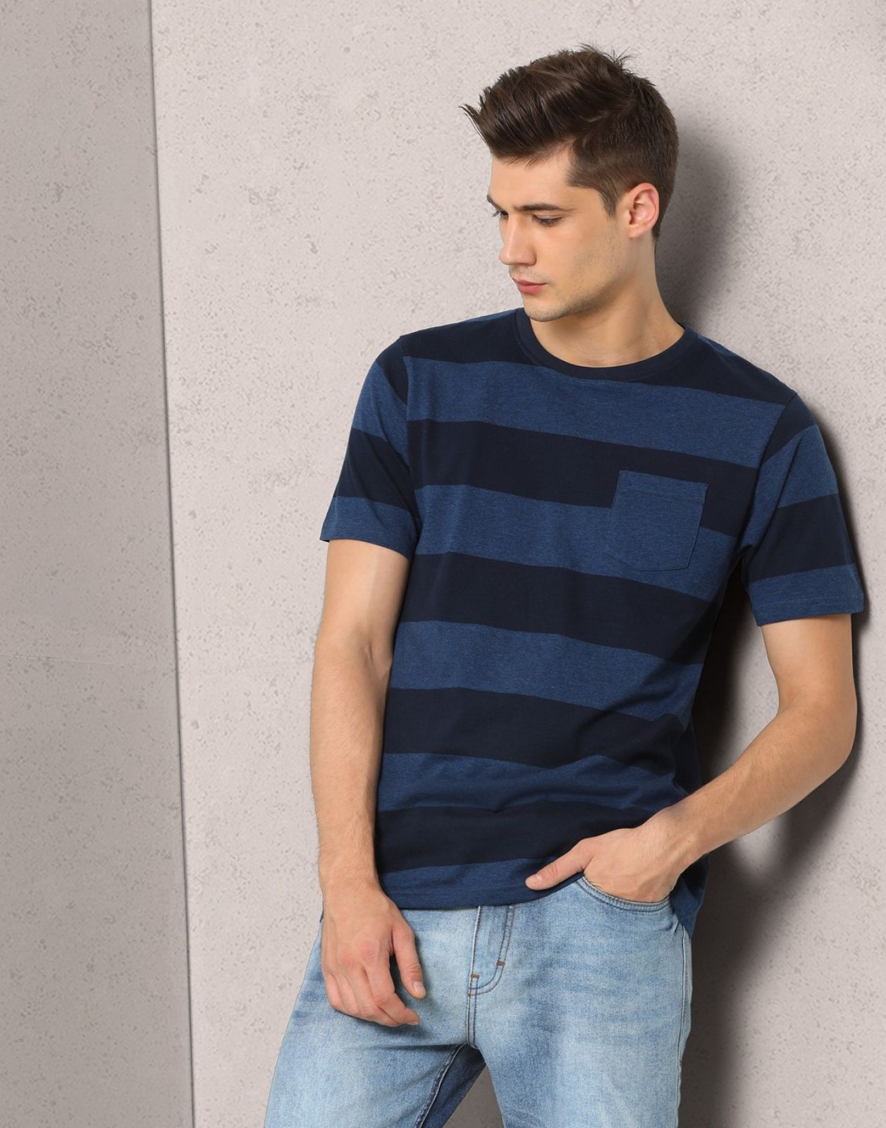 Metronaut Striped Men's Round Neck Dark Blue T-Shirt