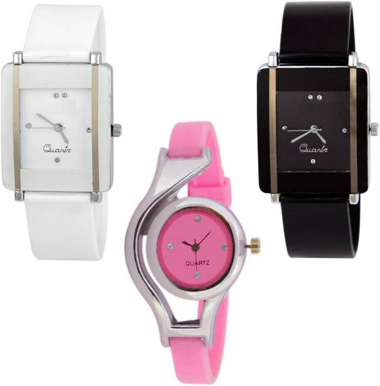 MF Set Of 3 Combo Pink, White And Black PU Material Fast Selling Women Watch - For Girls