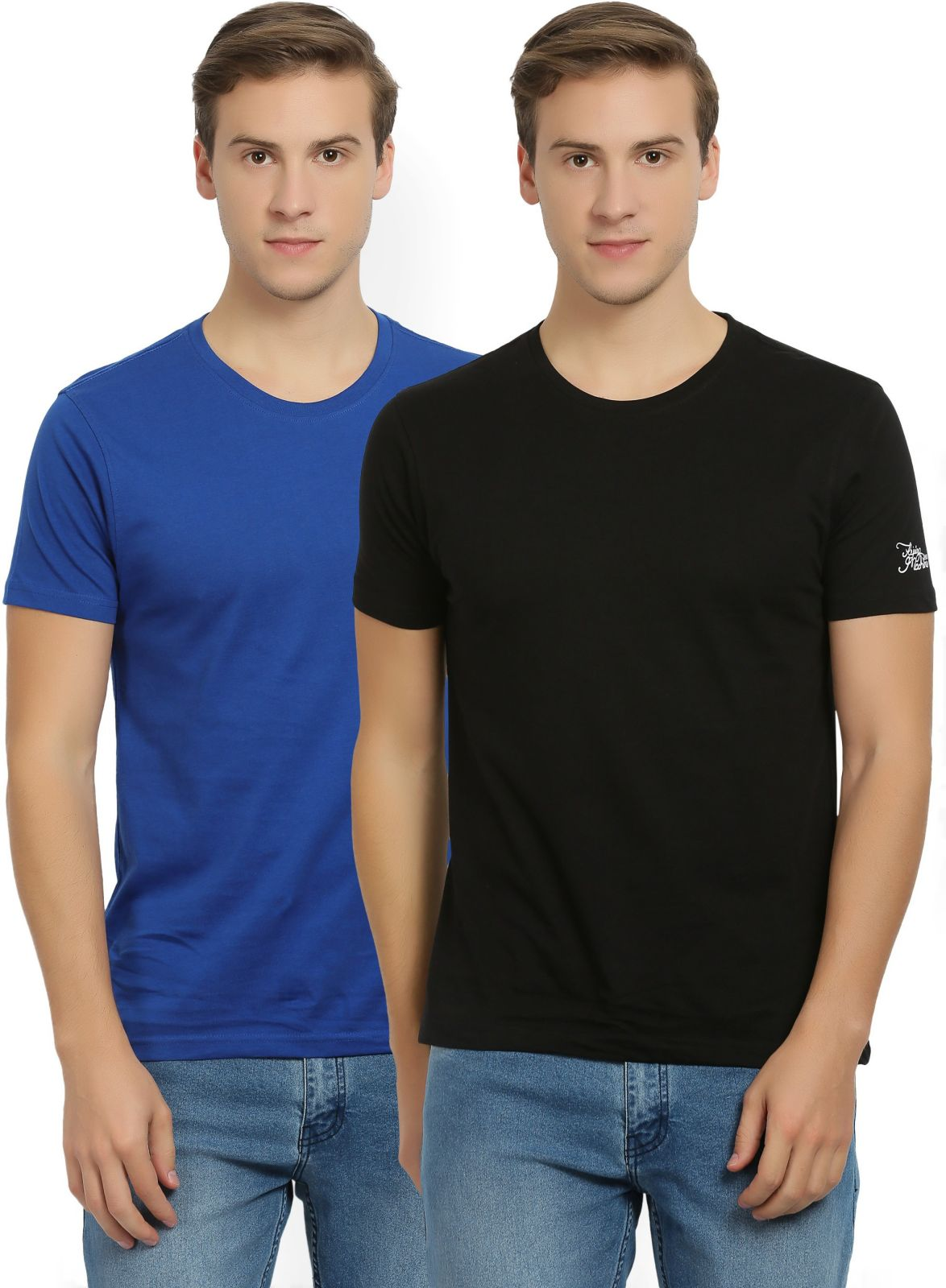 Flying Machine Solid Mens Round Neck Black, Blue T-Shirt (Pack of 2)