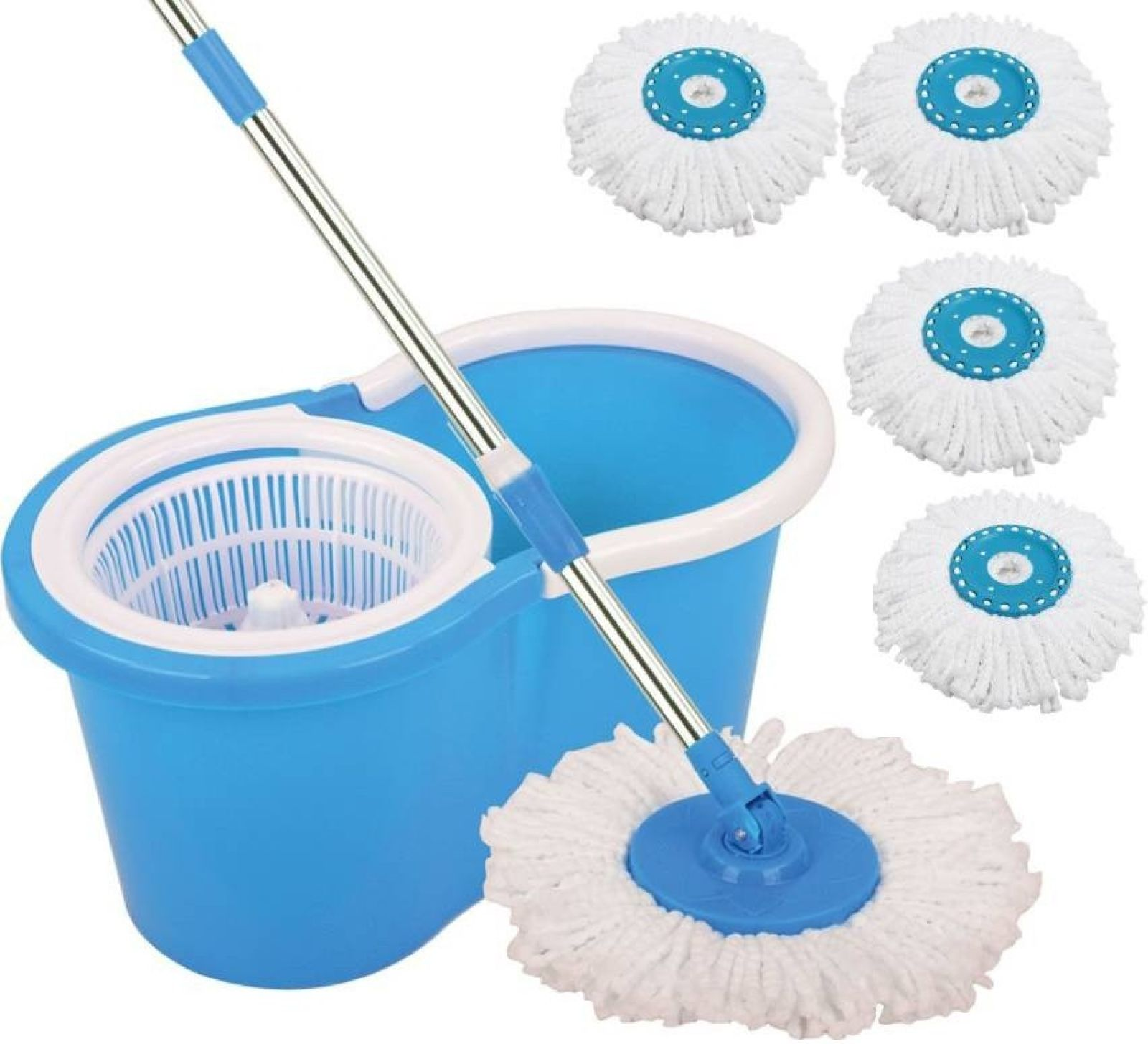 CheckSums 11033 Magic Dry Bucket Mop - 360 Degree Self Spin Wringing With 4 Super Absorbers for Home & Office Floor Cleaning Home Cleaning Set