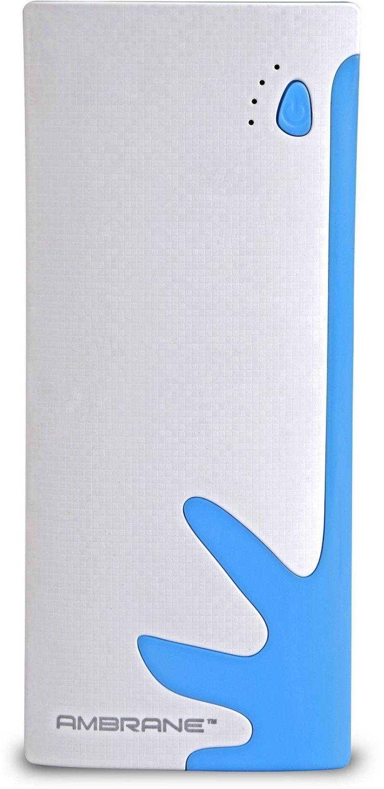 Ambrane 10000 mAh Power Bank (P-1122, NA)  (White, Blue, Lithium-ion)