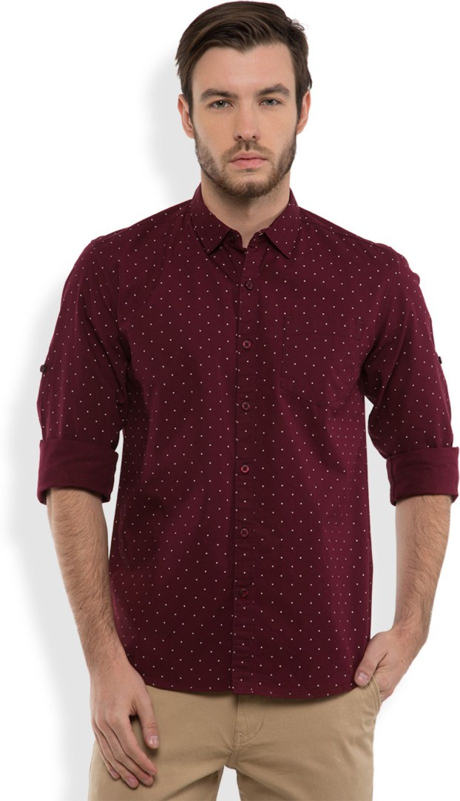 Highlander Men's Printed Casual Maroon, White Shirt