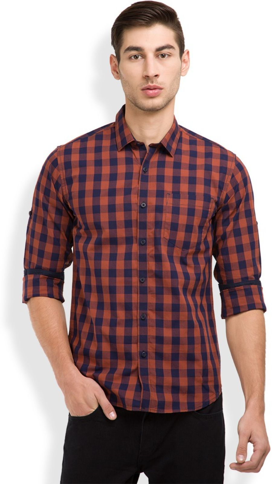 Highlander Mens Checkered Casual Dark Blue, Red Shirt