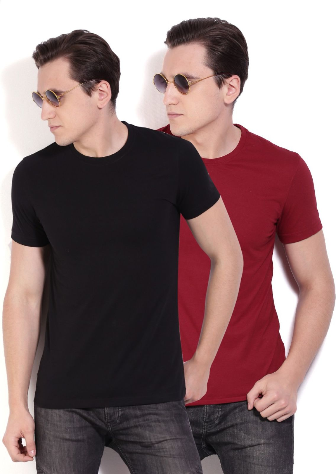 Peter England Solid Men's Round Neck Maroon T-Shirt (Pack of 2)