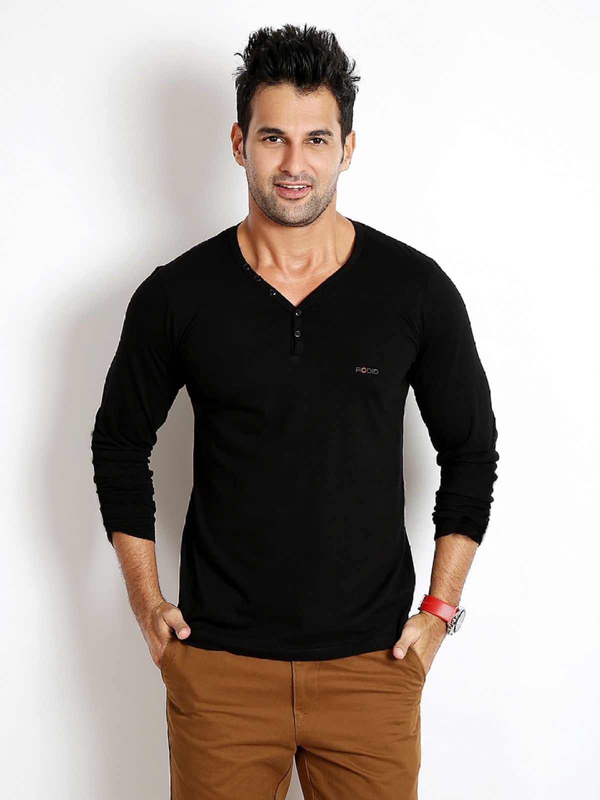 Rodid Solid Mens V-neck Black T-Shirt