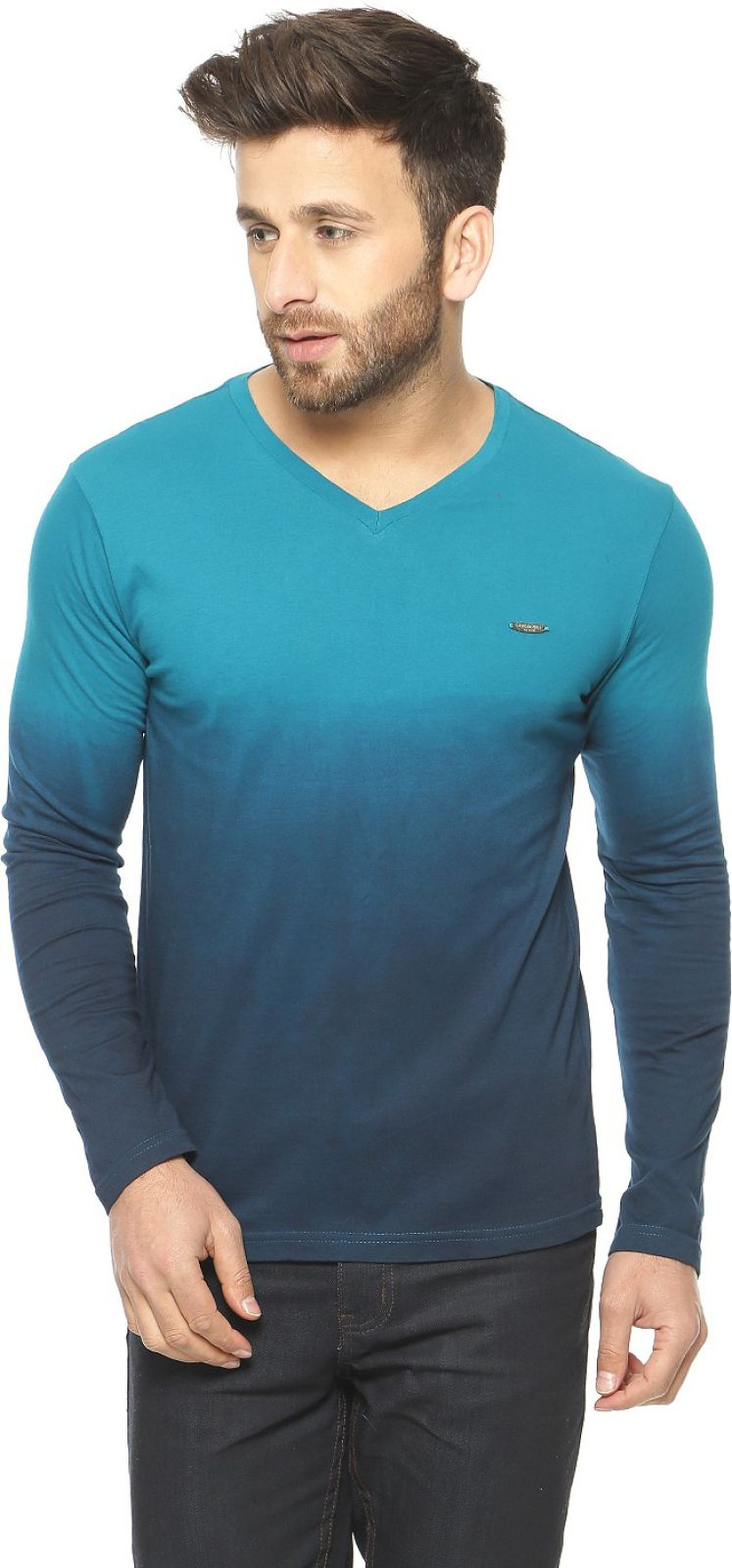 Gritstones Solid Men's V-neck Blue T-Shirt