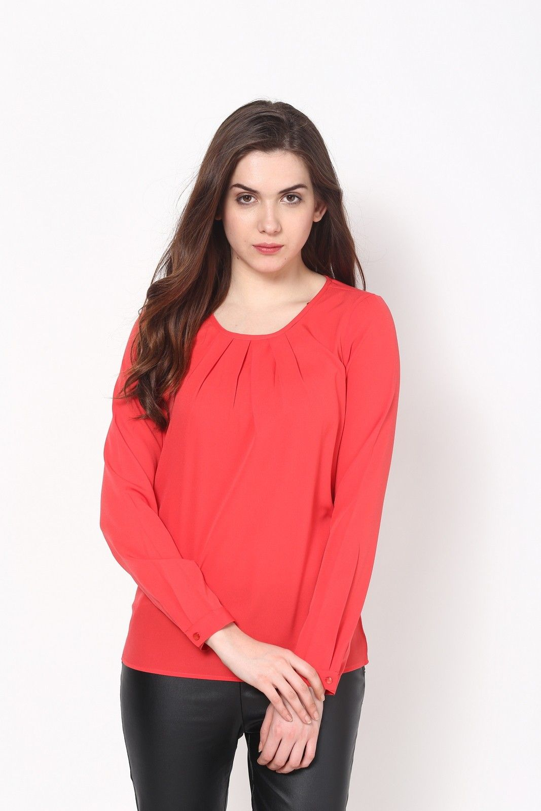 Harpa Casual Full Sleeve Solid Womens Orange Top