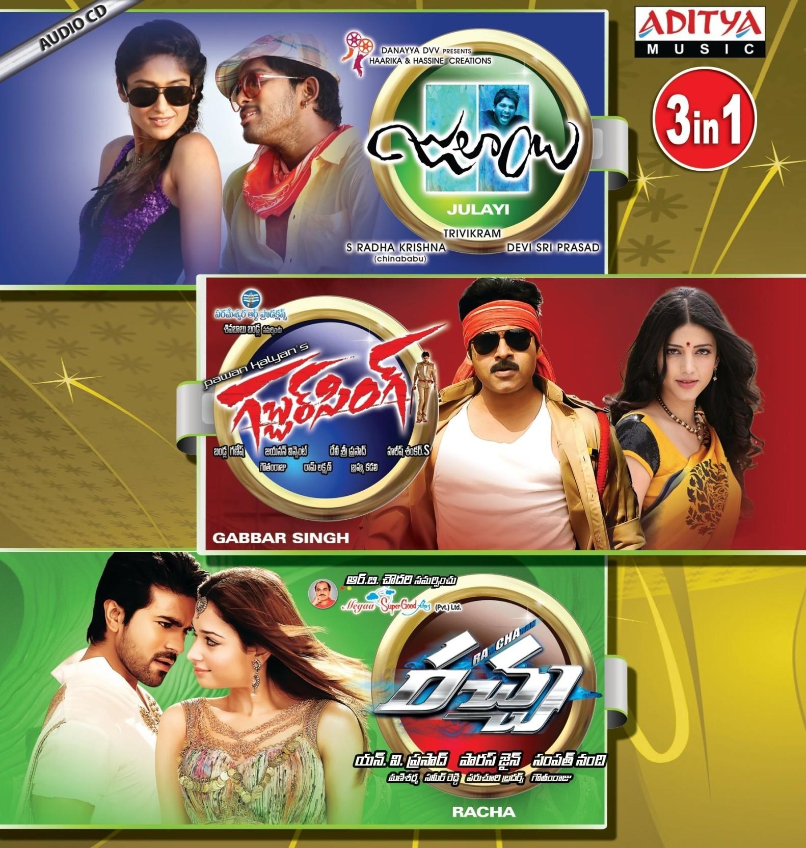 3in1 - Julay / Gabbar Singh / Racha Music Audio CD - Price