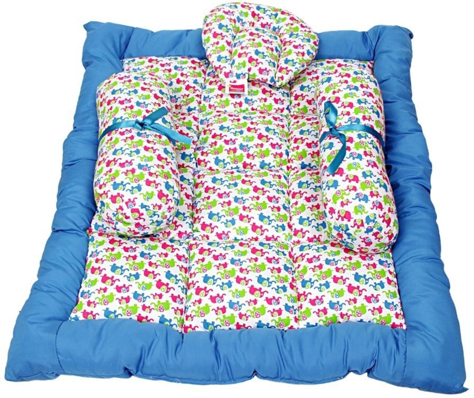 Morisons Baby Dreams Elephant Print Bed Set Carry Mattress Soft Cotton Blue