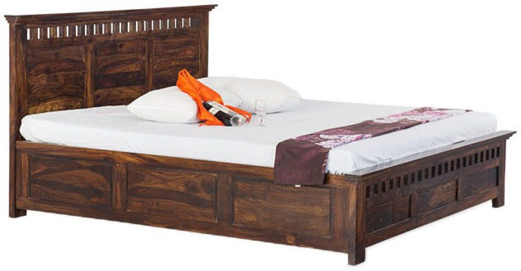 Smart Choice Furniture Smart Choice Rosewood Sheesham Jibd11 Matte Finish Solid Wood King Size Bed Solid Wood King Box Bed