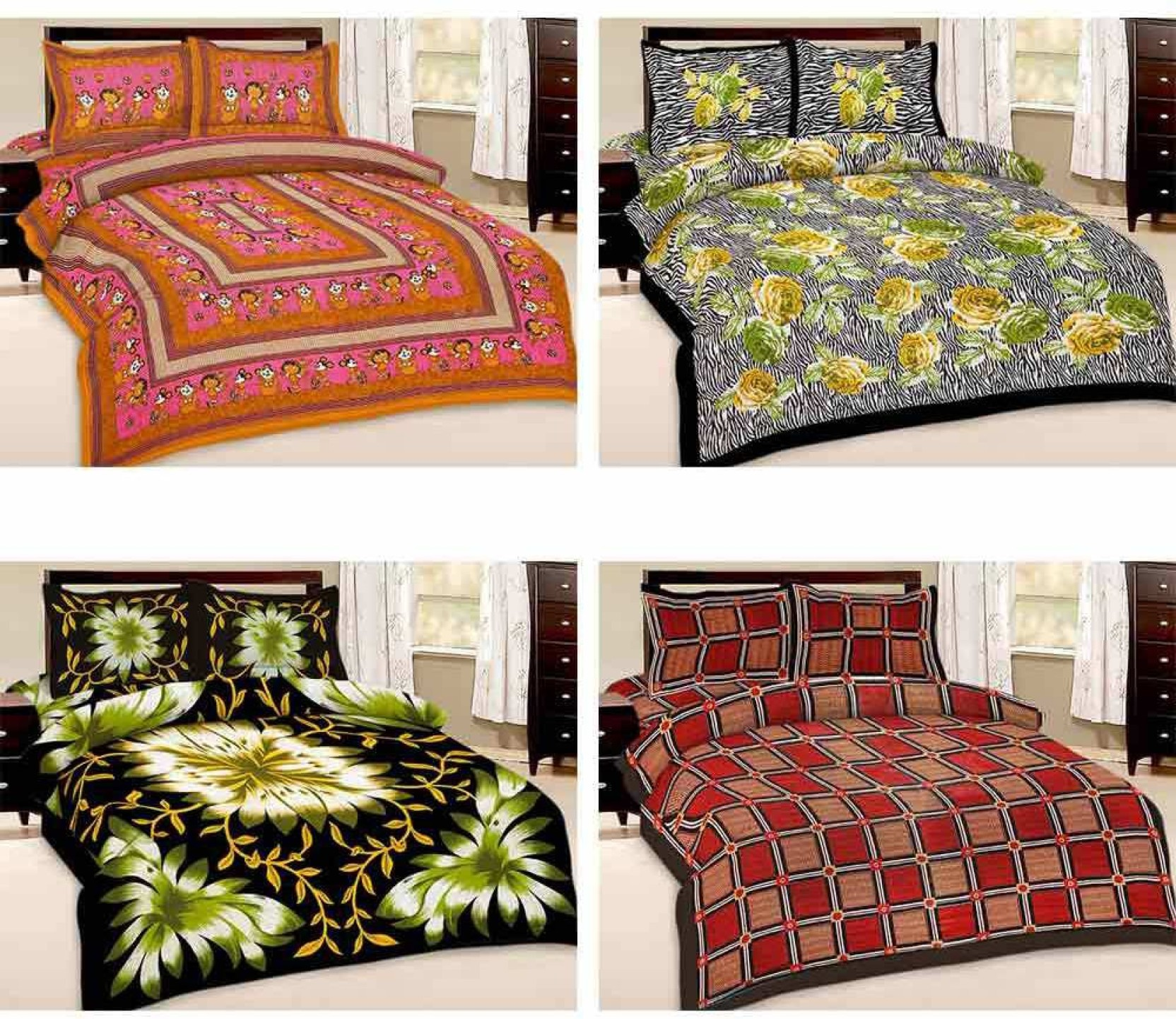 United Colors Of Benetton Cotton Double Printed Bedsheet Buy Legging Rich 4pc Share
