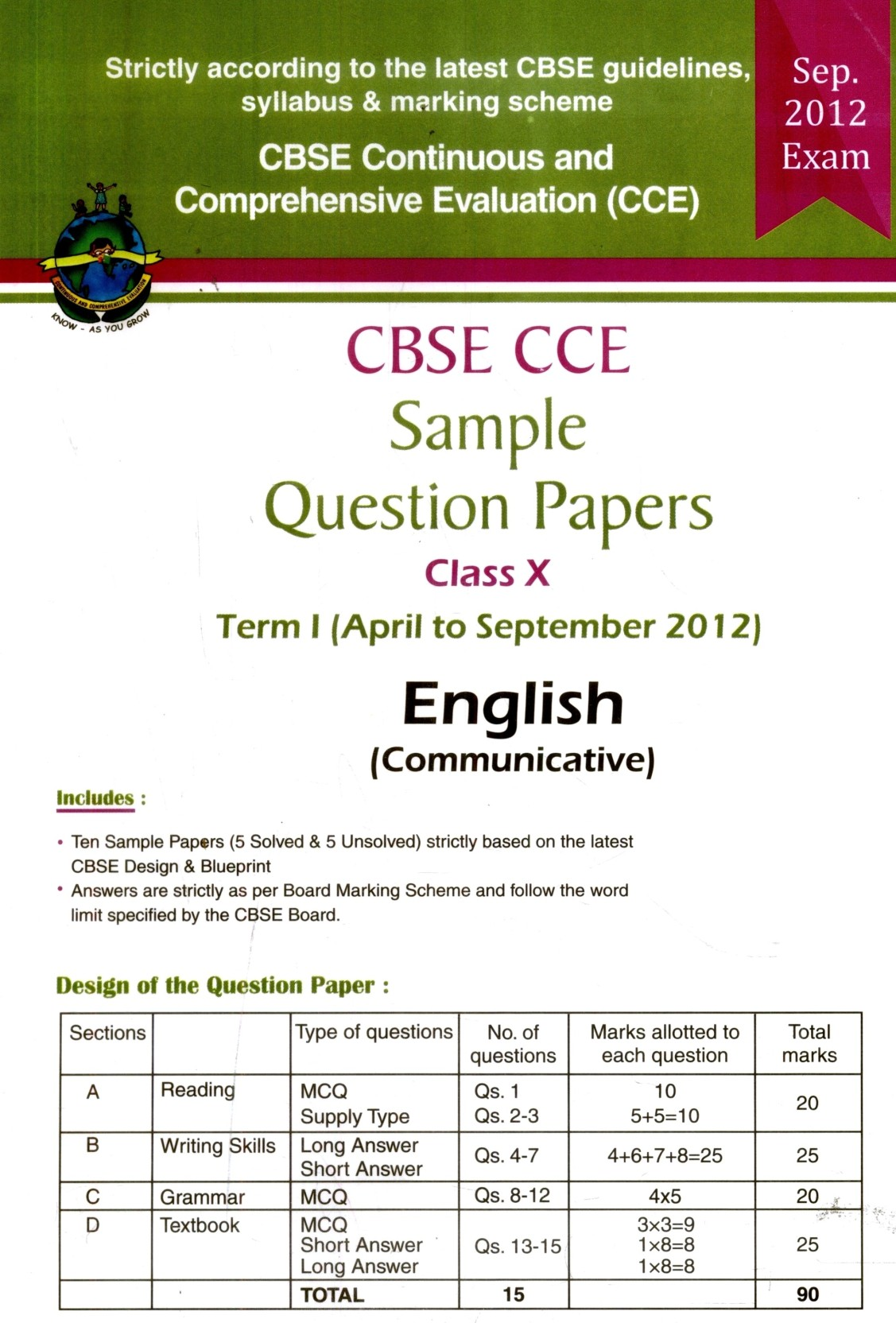 CBSE CCE Sample Question Papers Term I (April to September