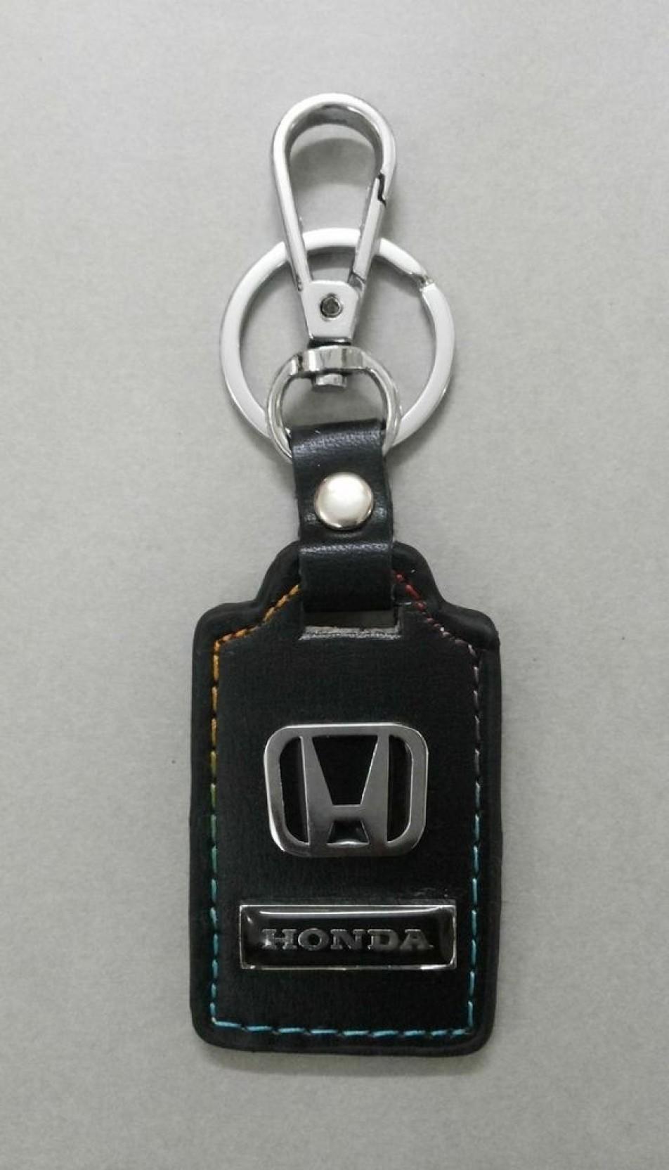 Honda Black Leather Keychain