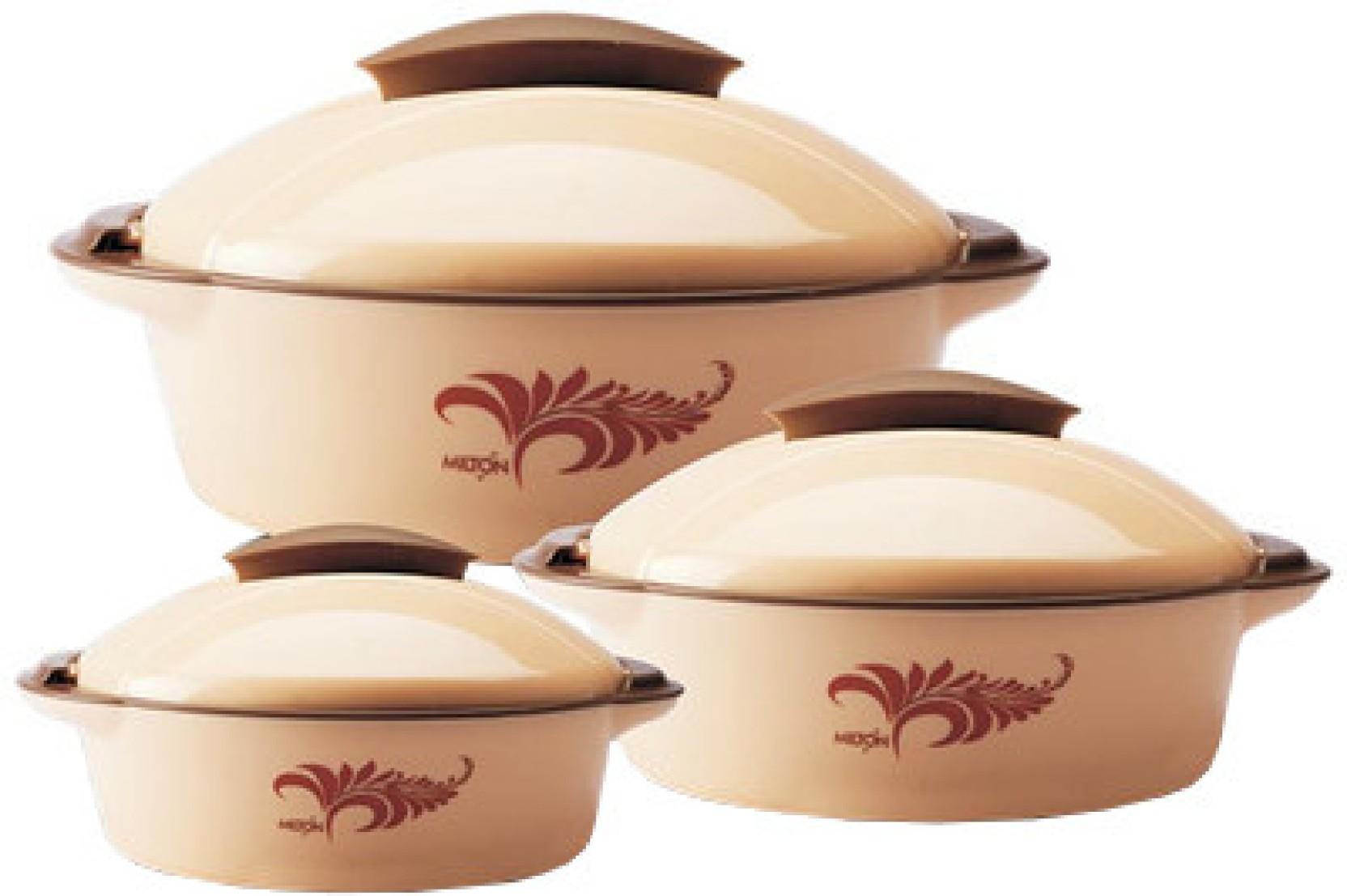 Milton crisp jr deluxe pack of 3 casserole set price in for Kitchen set on flipkart
