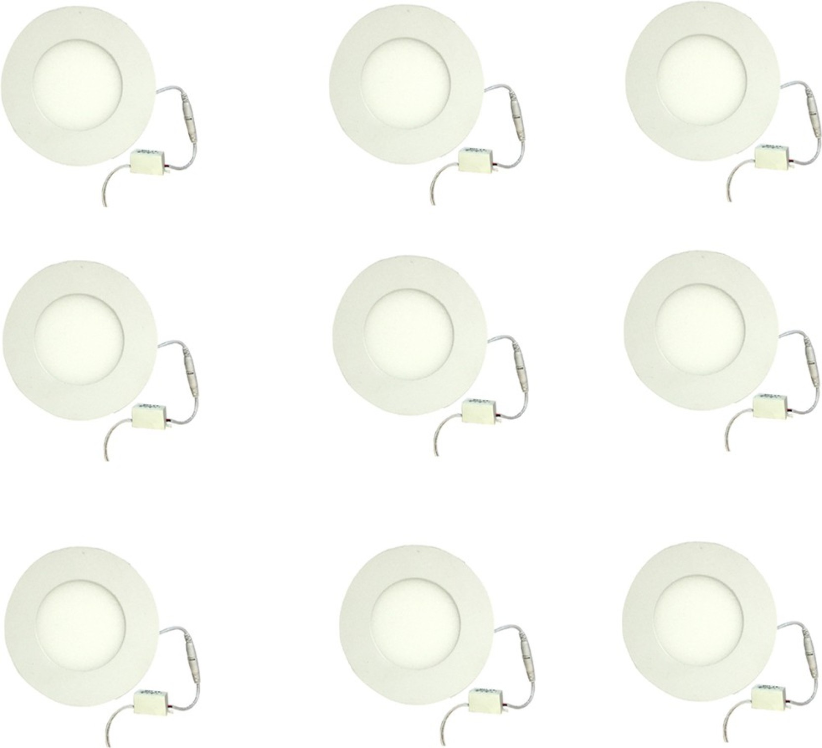 Galaxy 3 Watt Led Panel Light Round Cool White With 2 Years Warranty Set Of 9 Recessed Ceiling