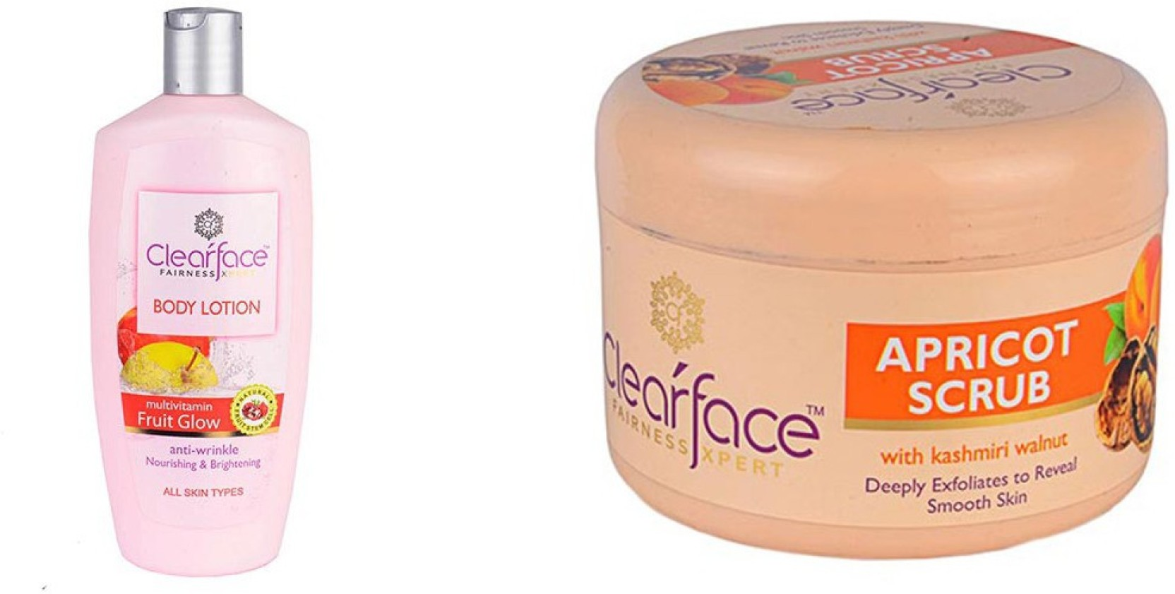 Clearface Multivitamin Fruit Glow Body Lotion With Apricot Scrub Vaseline Healthy White Perfect 10 200ml Twin Pack Share
