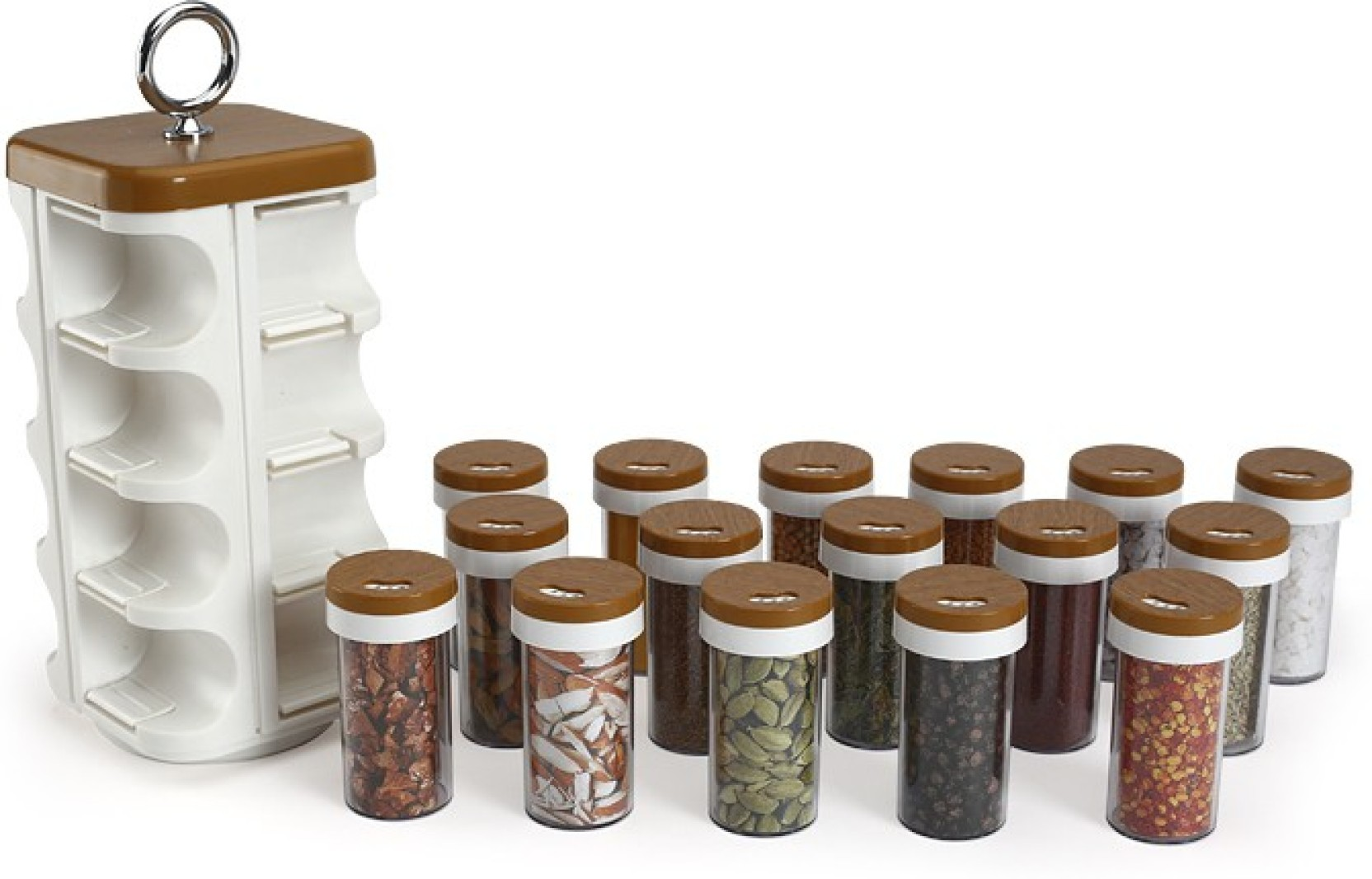 Na kitchen mate wood finish spice rack 17 piece condiment for Kitchen set on flipkart
