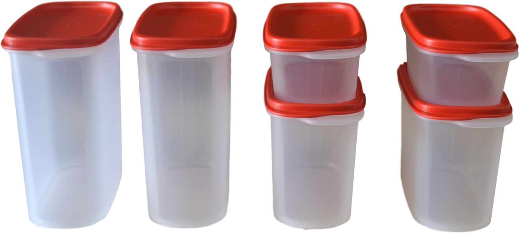 Tupperware Smart Saver Set Of 6 1700 Ml 1100 500 Plastic Classy Red Collection Add To Cart