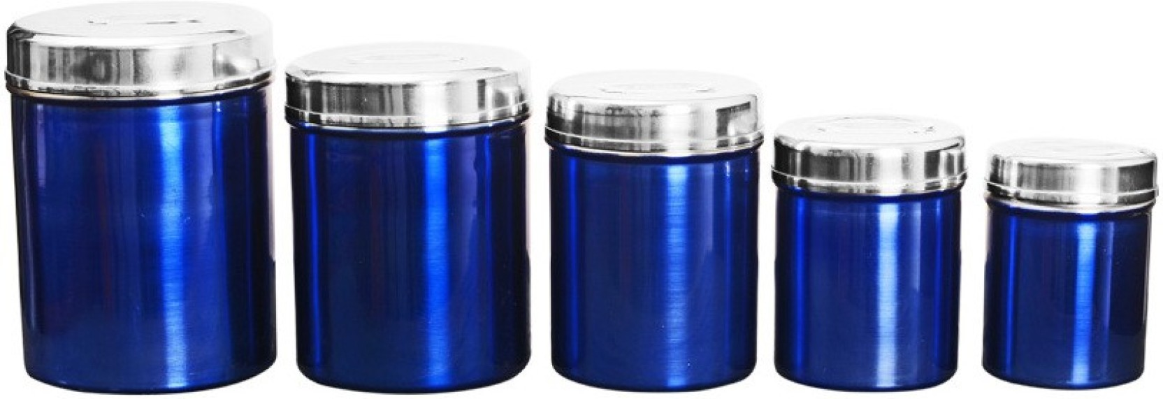 Heluvi Gl Canister A2bl 3500 Ml Steel Tea Coffee Sugar Container Pack Of 5 Blue