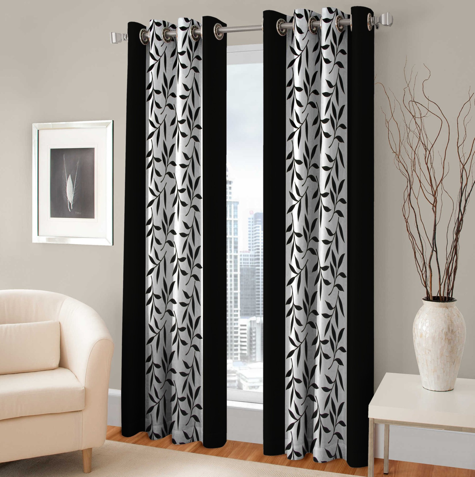 Optimistic Home Furnishing Polyester Black Floral Eyelet Door Curtain Buy Optimistic Home