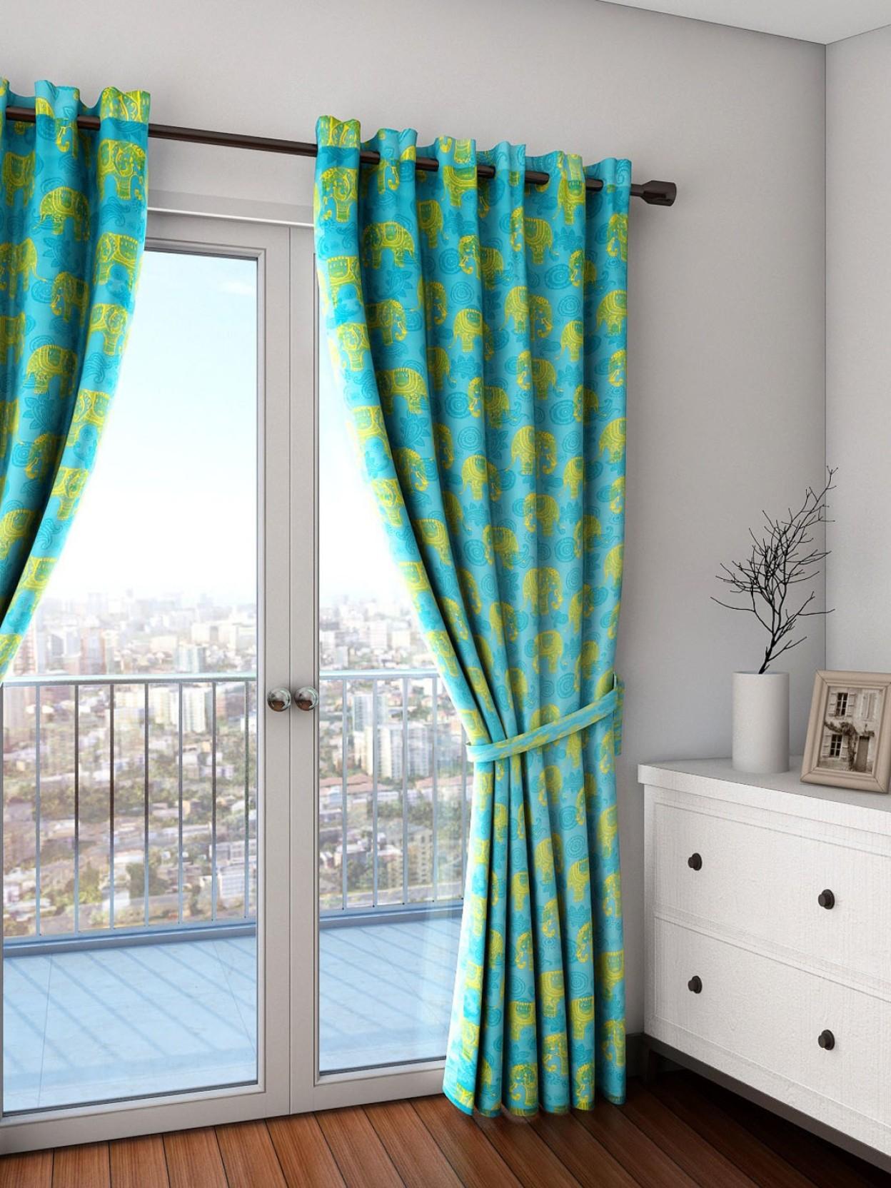 Swayam 90 Inch 3 Ft Satin Silk Window Curtain Single Printed Purple Green