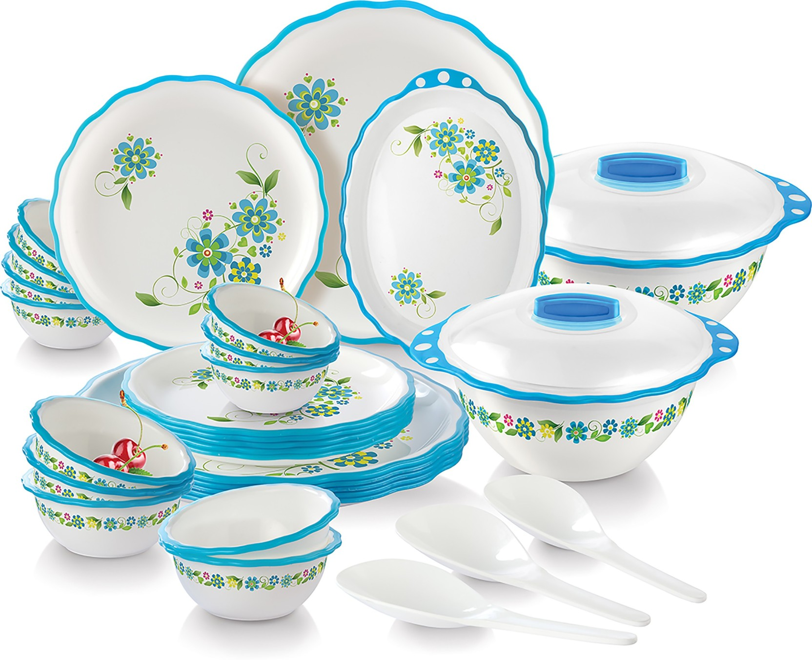 Joyo Home Wave Microwave Safe Round(32 Pcs (Blue)) Dinner Set Price ...