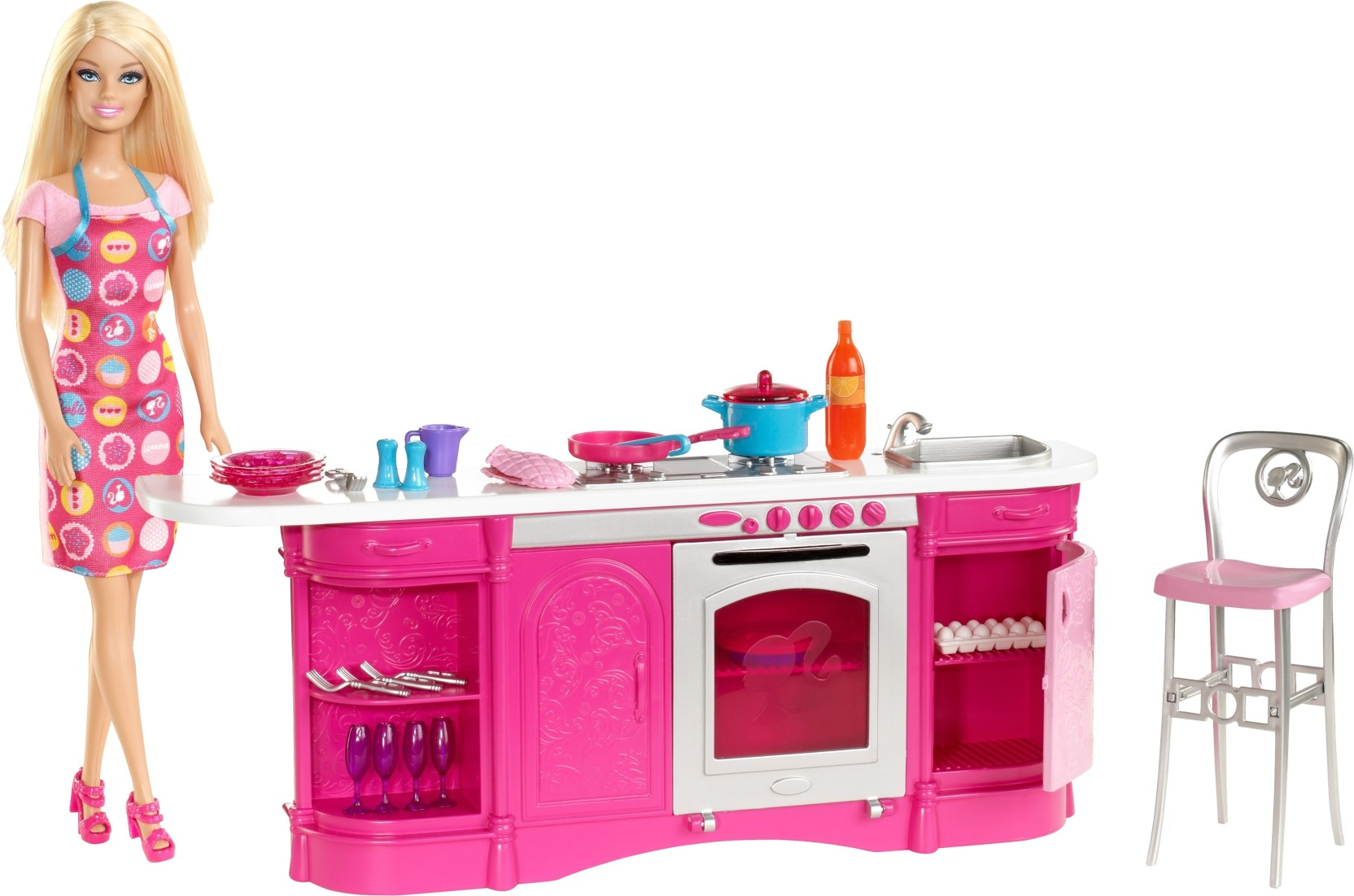 barbie cooking fun kitchen cooking fun kitchen shop for barbie products in india toys for 3. Black Bedroom Furniture Sets. Home Design Ideas