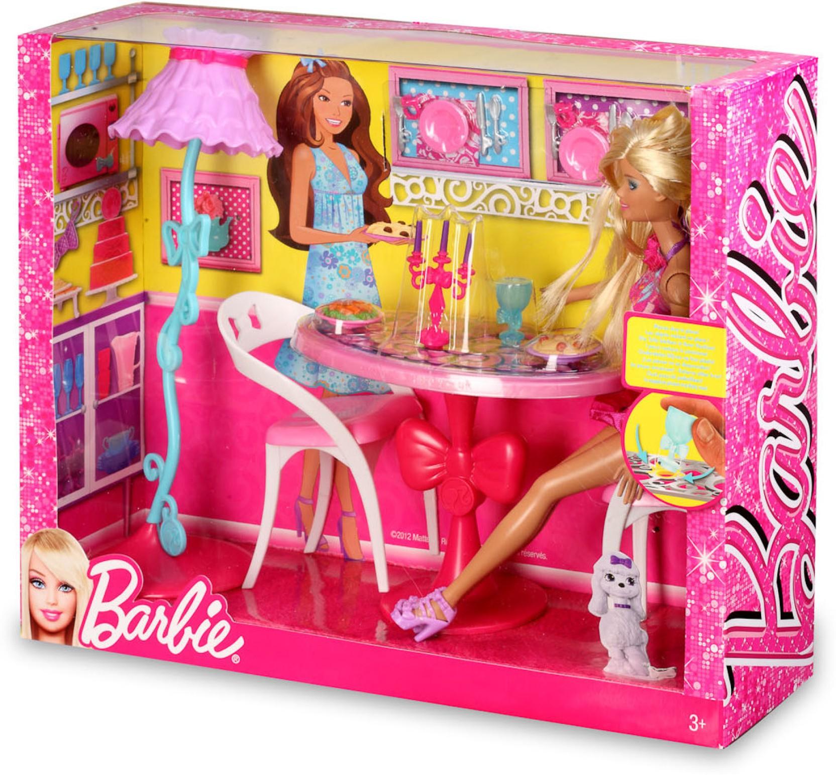 Articulating Lamp Parts Mattel Barbie Glam Dining Room Furniture and Doll Set - X7942 - Barbie ...