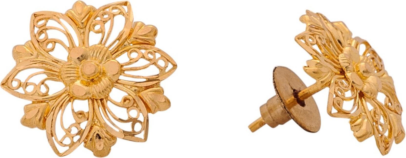 Senco Gold Flowery Yellow Gold 22kt Stud Earring   Buy Senco Gold ...
