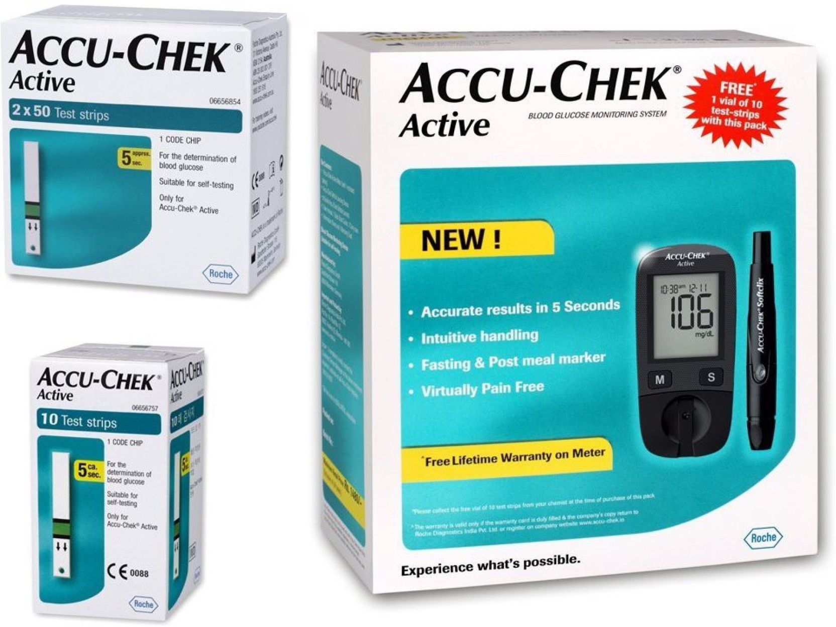 Accu Check Active Glucose Monitor With 100 Strips