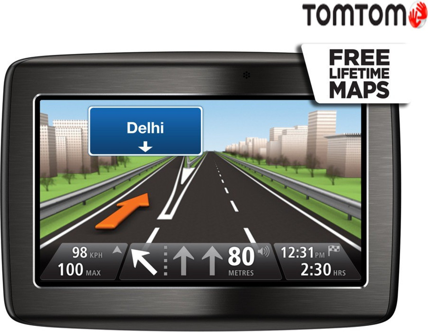TomTom Via 120+ GPS Device (7300 Maps, metallic grey)
