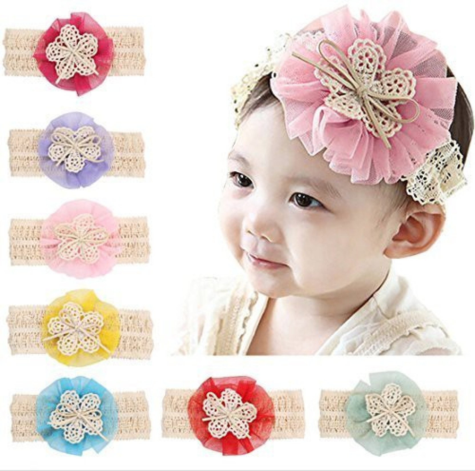 Pink /& White Newborn Baby Girl Pearl Lace Flower Headband Elastic Hair Band
