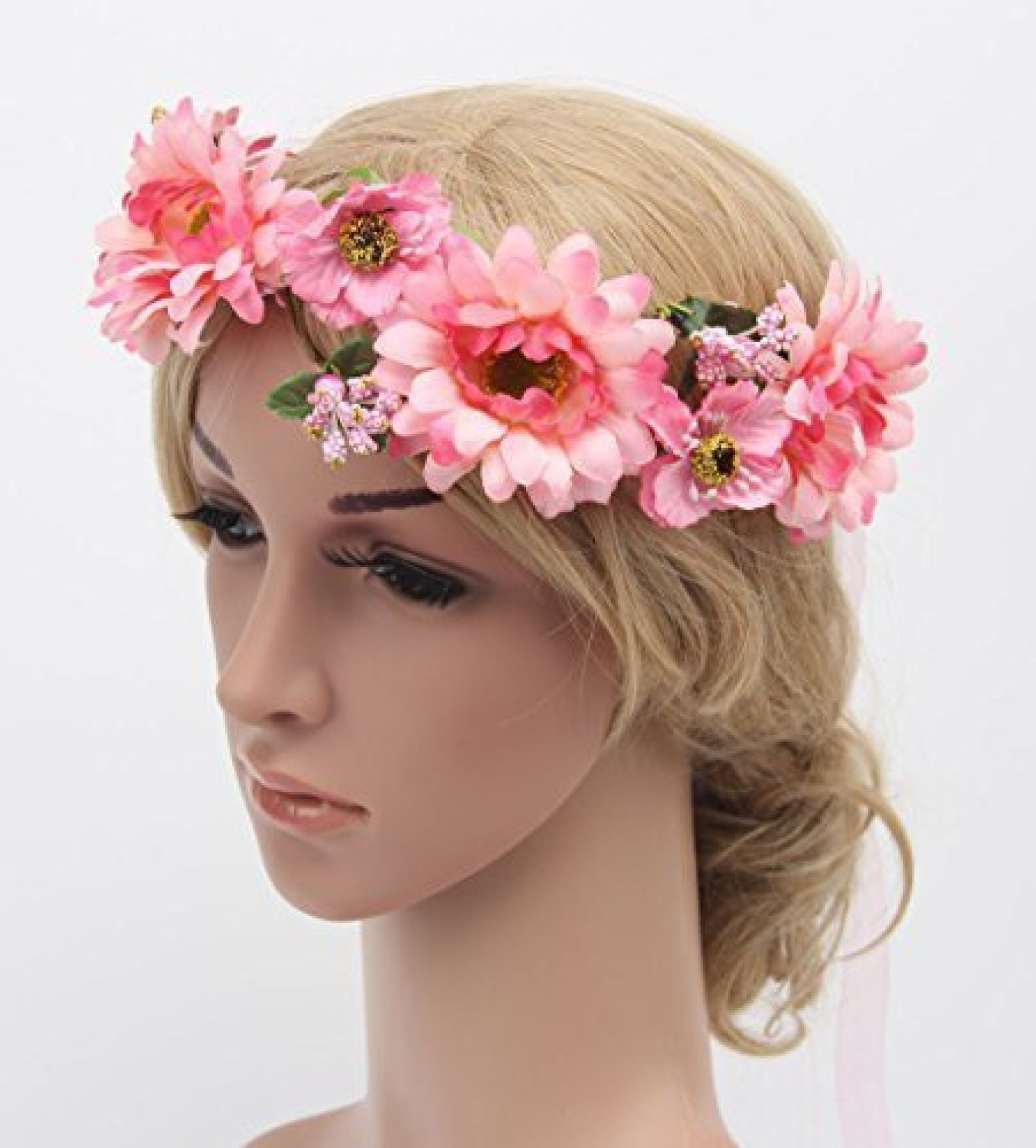 Meiliy Daisy Flower Garland Crown Flower Headband Hair Wreath With