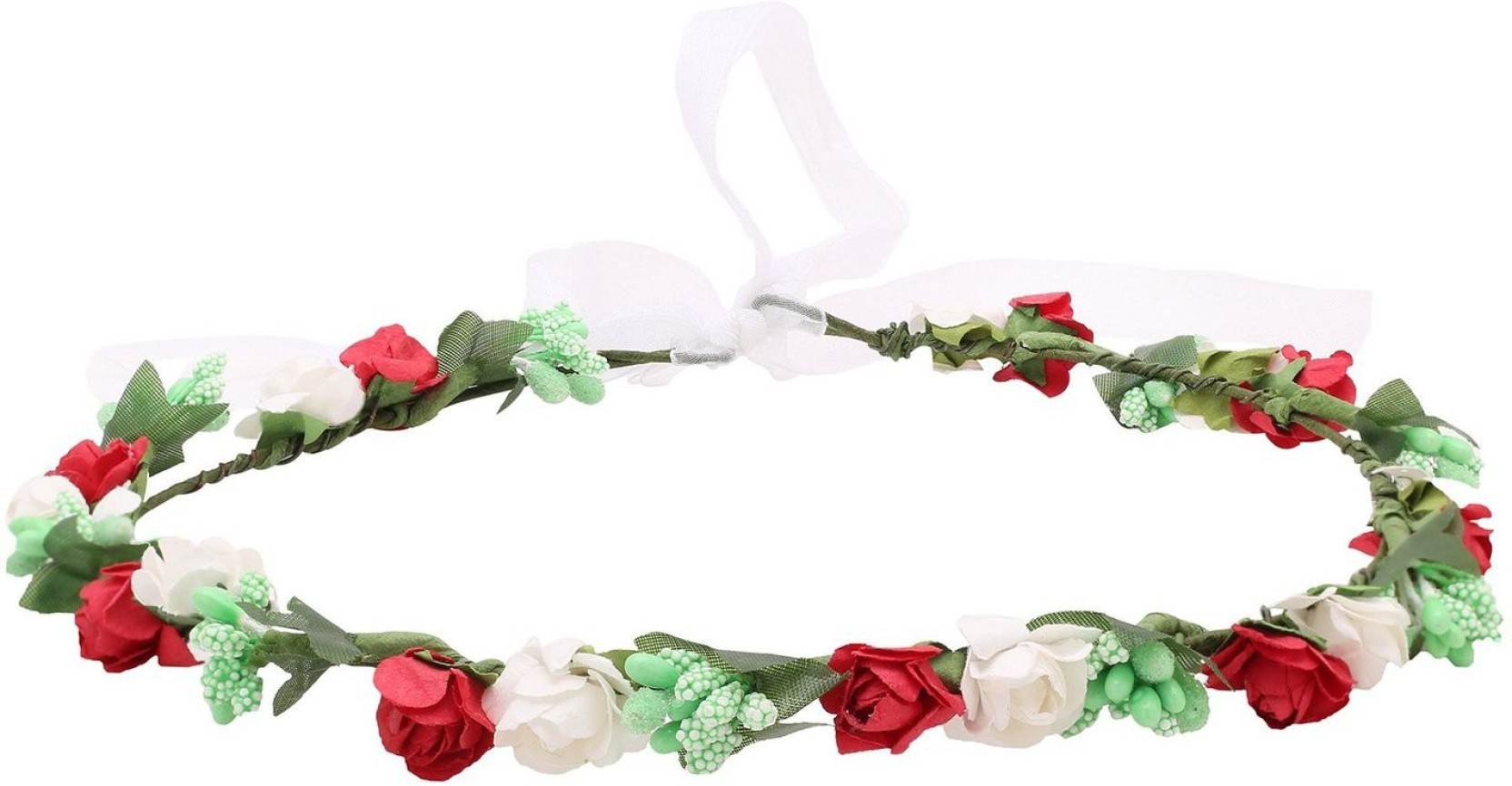 Sanjog Pretty Girl Red And White Paper Flower Crown Tiara Head Band