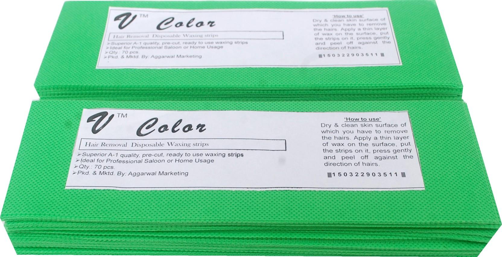 V Color Waxing Strips Green 140 Pcs Strips Price In India Buy V