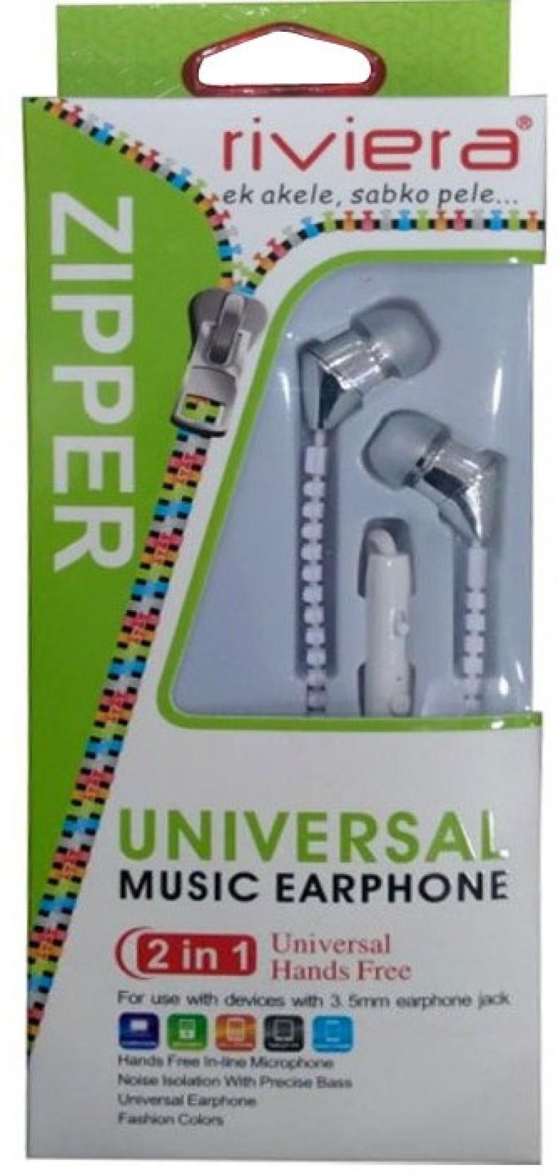 Riviera 2 In 1 Universal Music Earphone Headphone Price India Hf Zipper Home