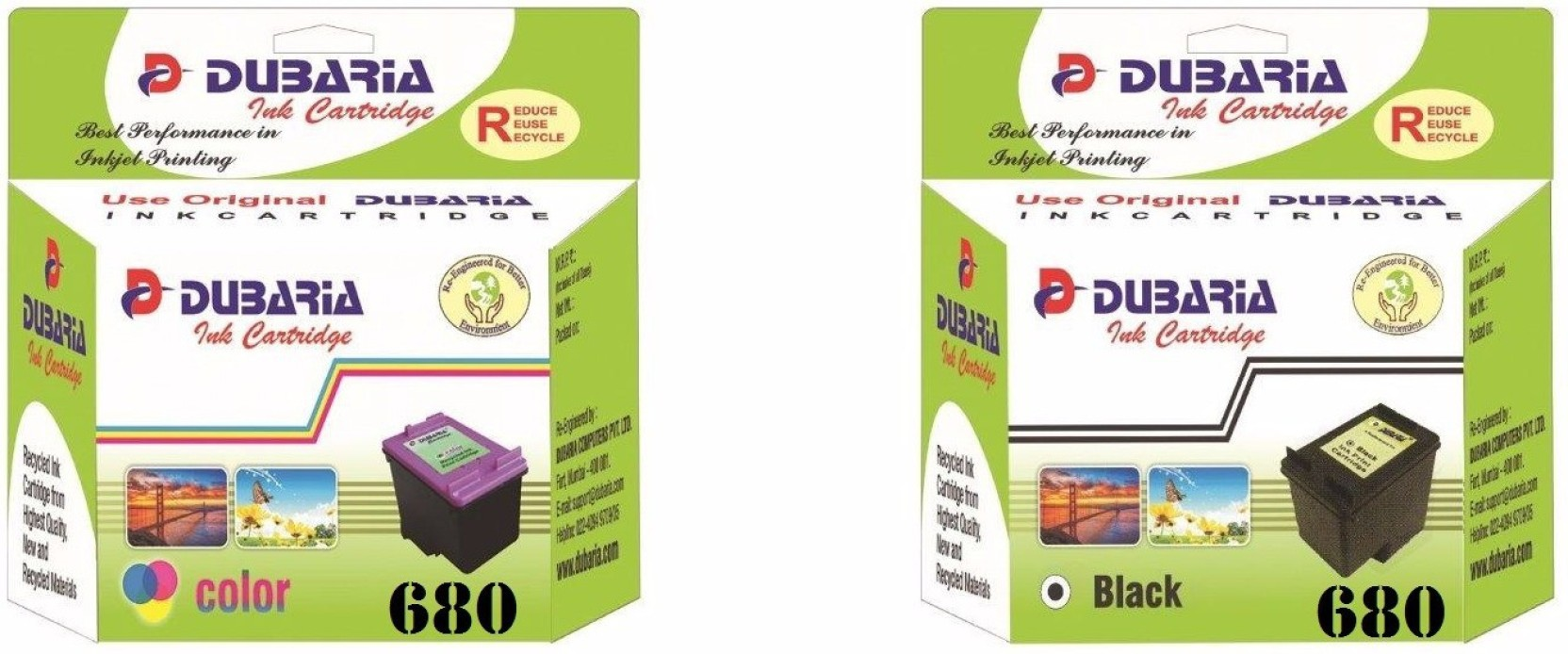 Dubaria 680 Black Color Ink Cartridge Combo Twin Pack Hp Colour Home