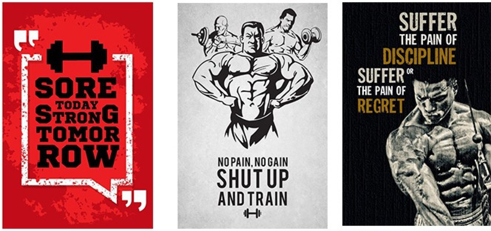 Vprint combo pack of gym motivational quote wall poster quotes
