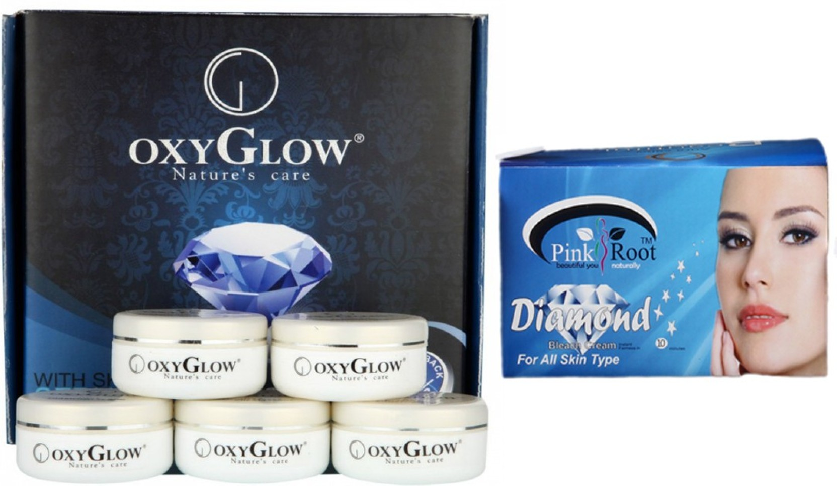 Oxyglow Diamond Facial Kit 165 Gm With Pink Root Bleach 250 Walet Black Soap Original Box Share