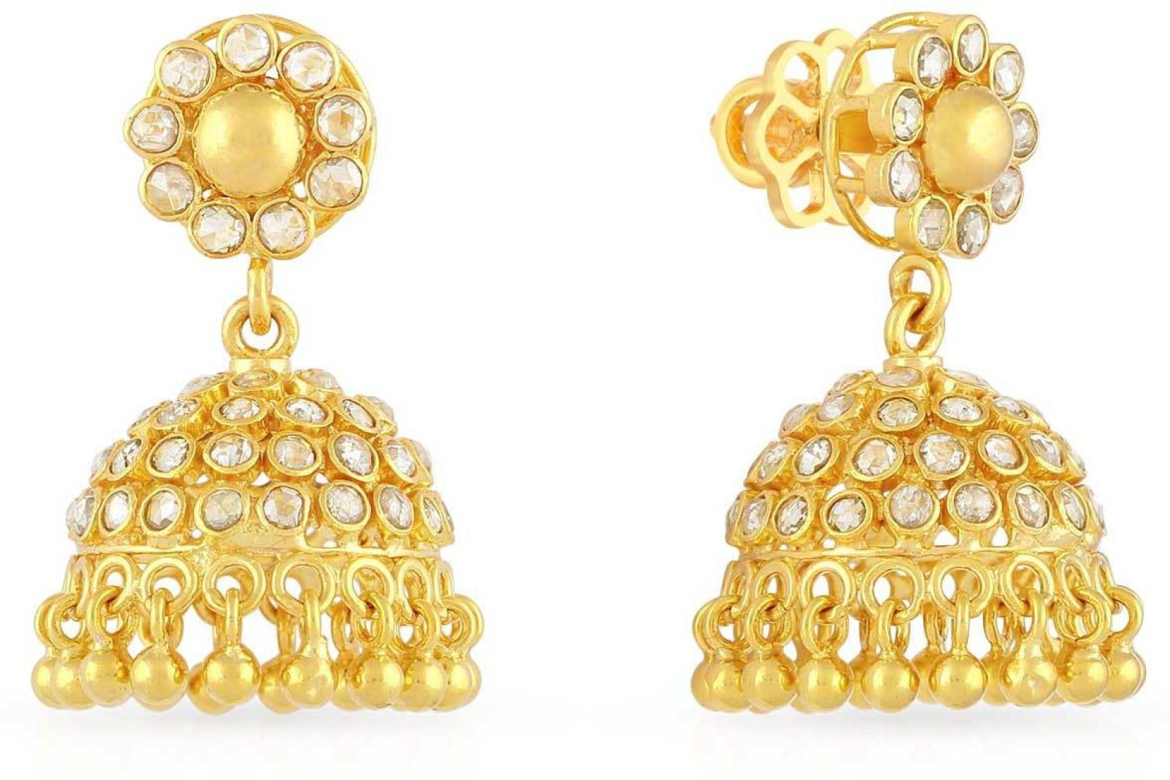 Malabar Gold and Diamonds Yellow Gold 22kt Jhumki Earring Price in ...