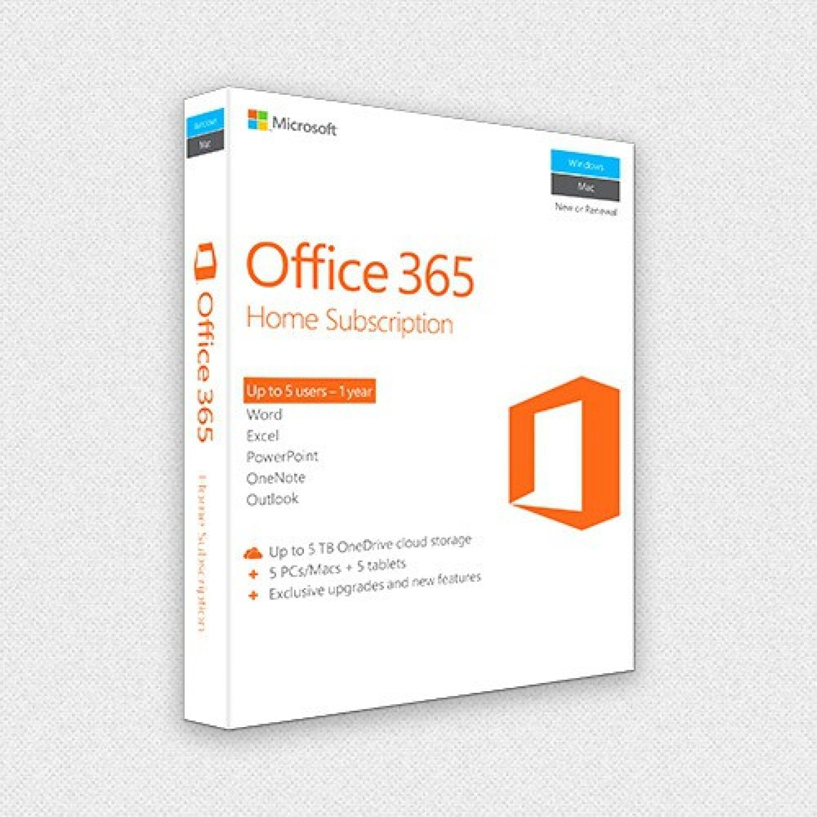 microsoft office 365 home premium 5 licenses pc mac tablet product key card no dvd. Black Bedroom Furniture Sets. Home Design Ideas