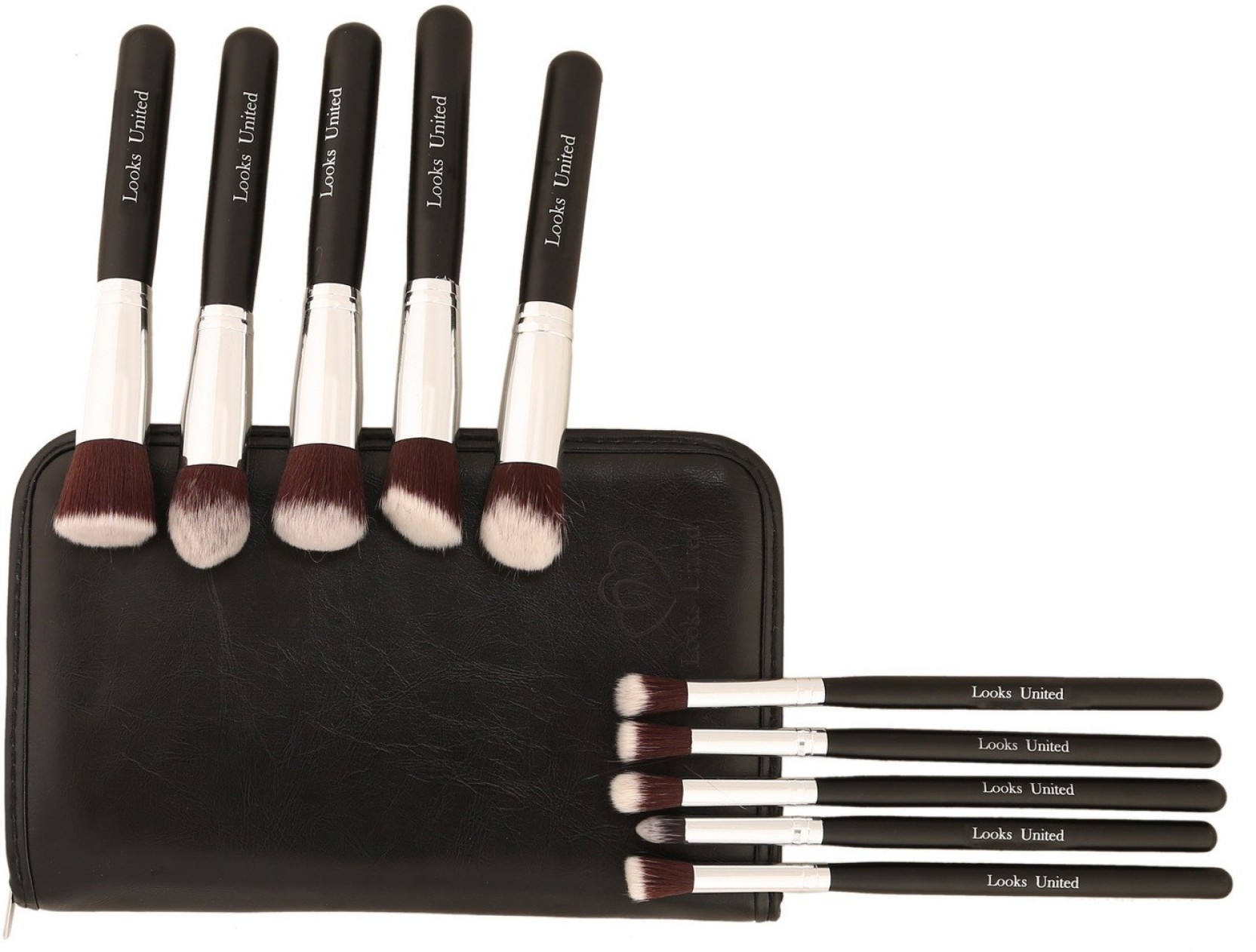 Looks United Premium Cosmetic Makeup Brush Set With Leather Pouch On Offer