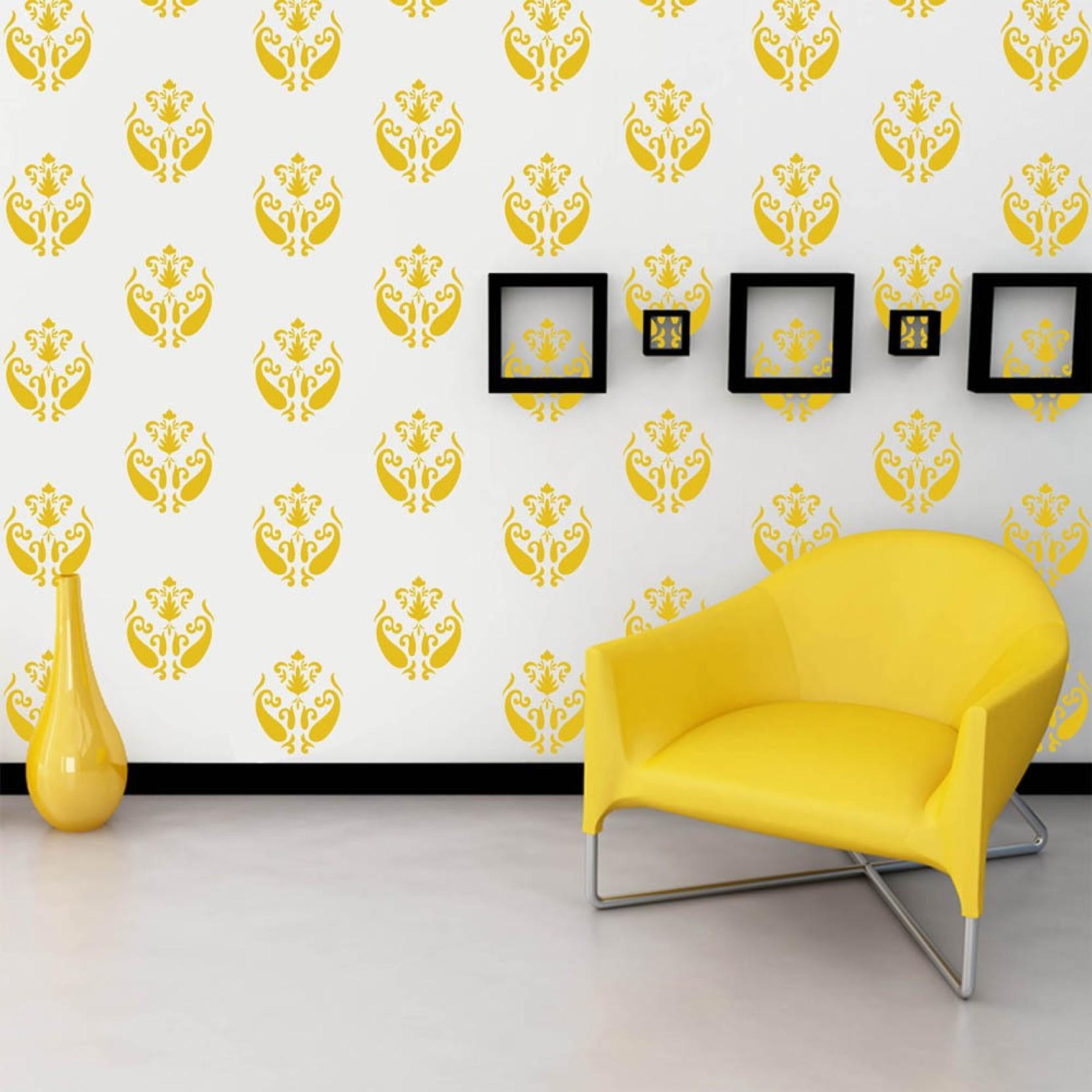 Arhat Stencils DAMASK ASR-E183 GLOSSY PVC (Wall Décor & Art) Stencil ...