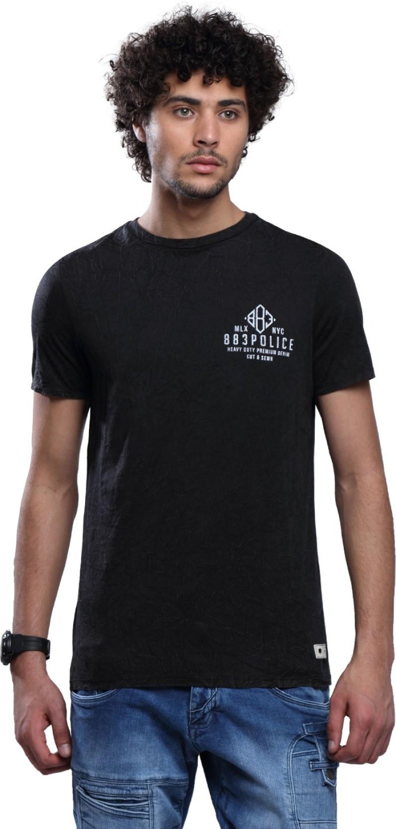 883 Police Self Design Mens Round Neck Black T Shirt Buy 883