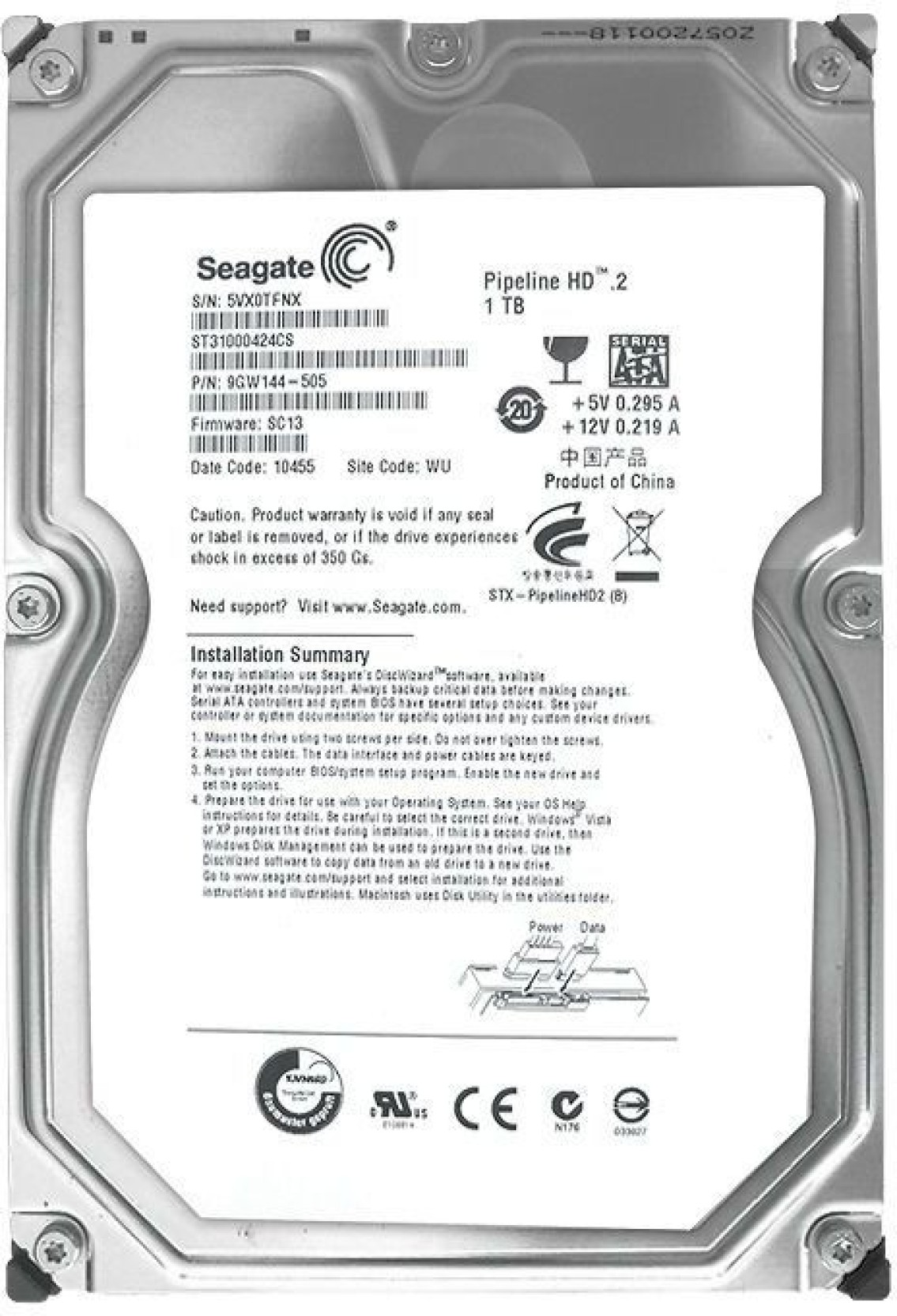 Seagate Pipeline 1 Tb Desktop Surveillance Systems Servers Harddisk 35 Inch Sata 500gb Slim Share