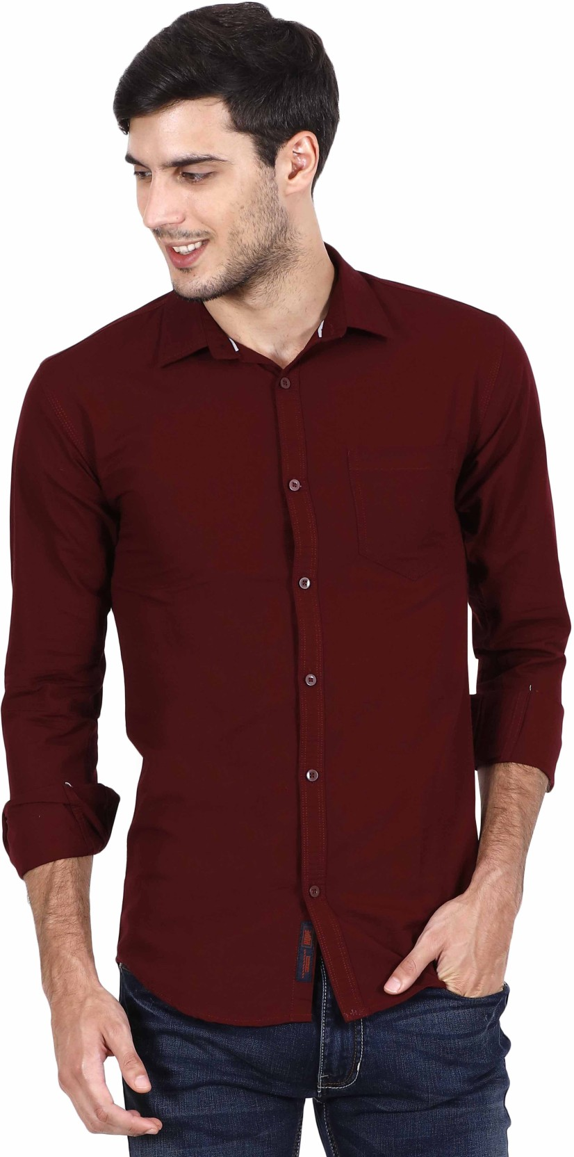 Rope Mens Solid Casual Maroon Shirt Buy Ares Nokha Sneakers Women 36 On Offer