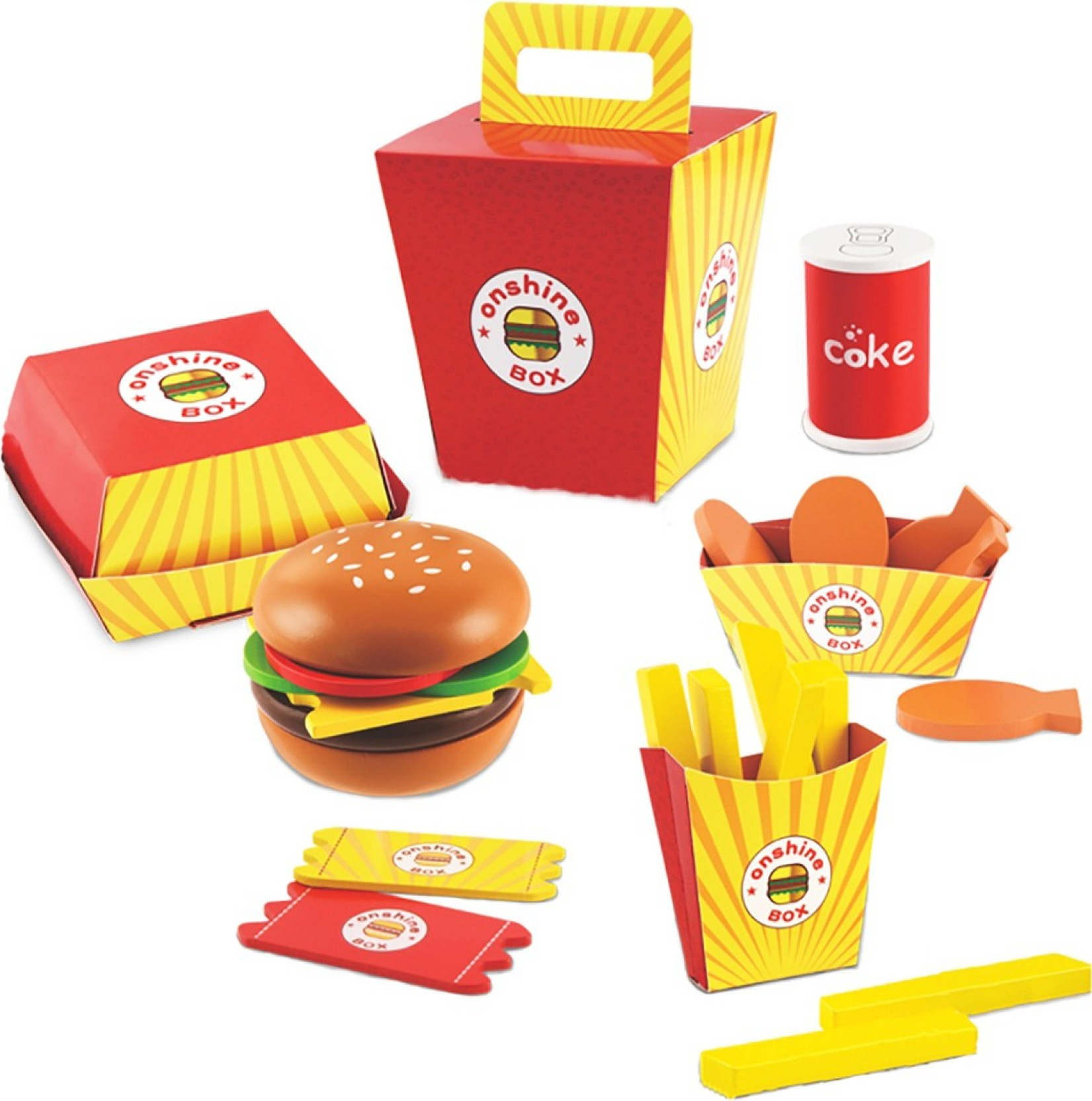Jack Royal High Grade Wooden Toy Burger Fast Food Set High Grade