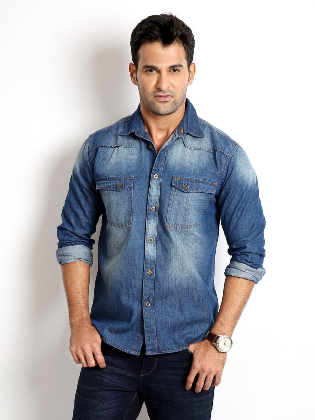 Rodid men 39 s solid casual dark blue shirt buy indigo blue for Mens jeans and dress shirt